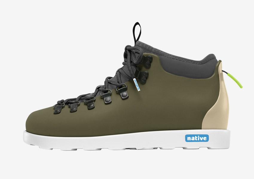 Native Shoes — zimní boty, veganské, zelené (army green), plastové, voděodolné, pohorky — pánské, dámské — Fitzsimmons