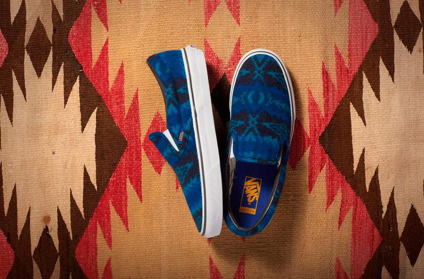 Vans x Pendleton — Classic Slip-On — zateplené tenisky bez tkaniček, vlněné boty se vzory — modré — dámské, pánské