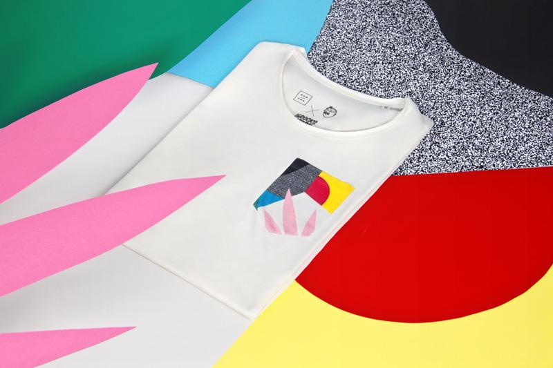 MAMAMA — krémové tričko Dawn Pocket s velkým barevným potiskem a náprsní kapsičkou, abstrakce — kolekce COP21