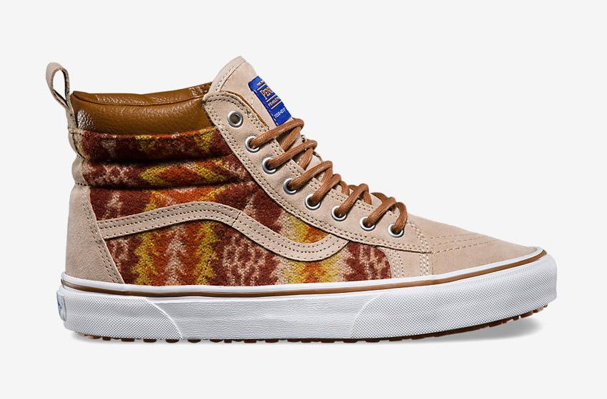 Vans x Pendleton — Sk8-Hi MTE — zateplené kotníkové boty s kožíškem, vlněné sneakers se vzory, vysoké — béžové, hnědé — dámské, pánské