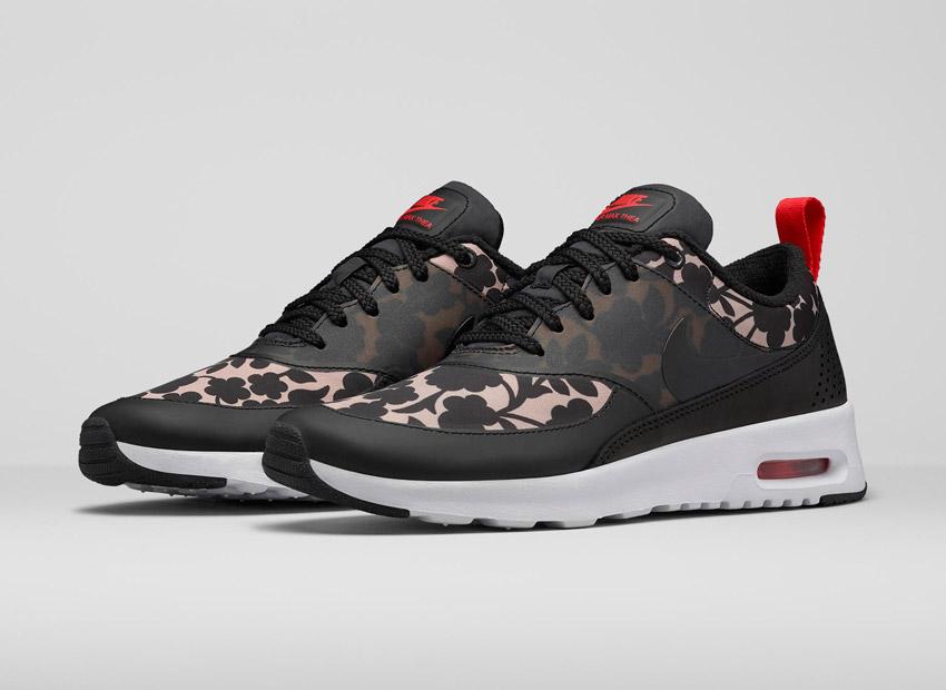 Liberty London x Nike Air Max Thea Tan Cameo Maxi Print — dámské tenisky se vzorem, černé — boty, sneakers