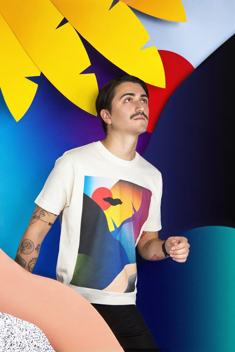 MAMAMA — krémová tričko Dusk s velkým barevným potiskem, abstrakce — kolekce COP21