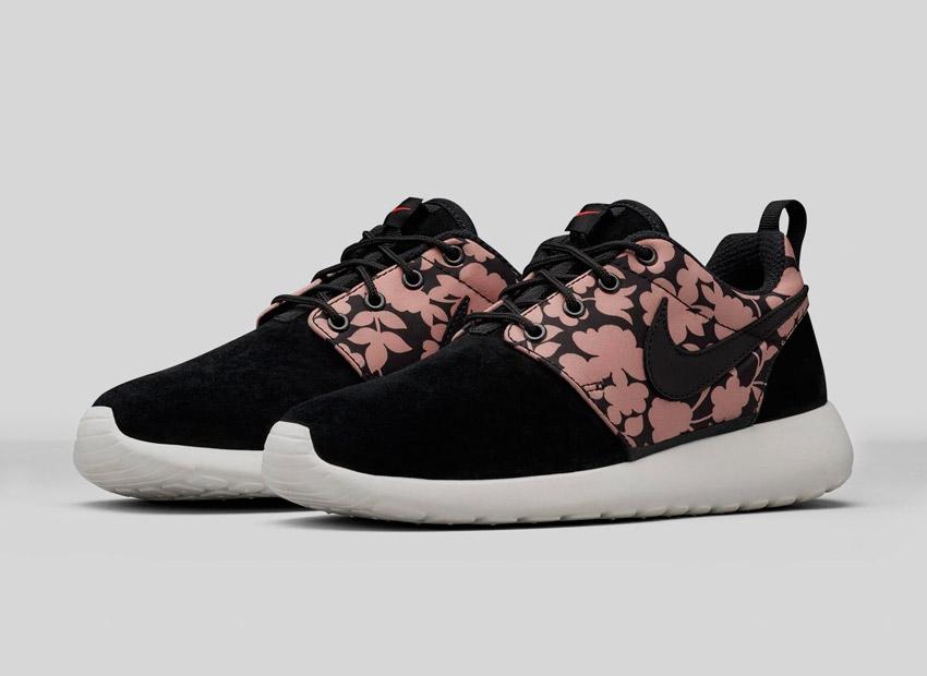 Liberty London x Nike Roshe One Tan Cameo Maxi Print — černé, světle růžové dámské boty se vzorem — běžecké tenisky, sneakers
