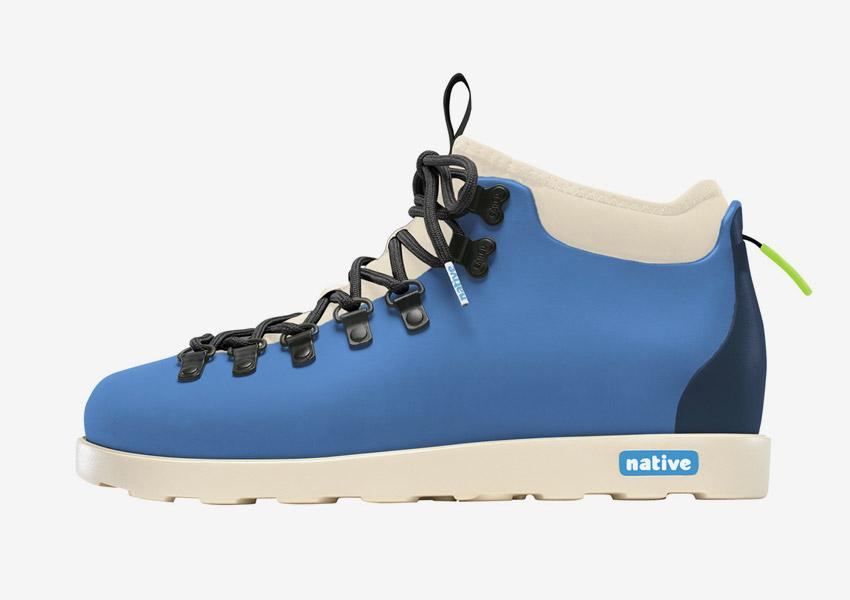 Native Shoes — zimní boty, veganské, modré (tyrkysové), plastové, voděodolné, pohorky — pánské, dámské — Fitzsimmons