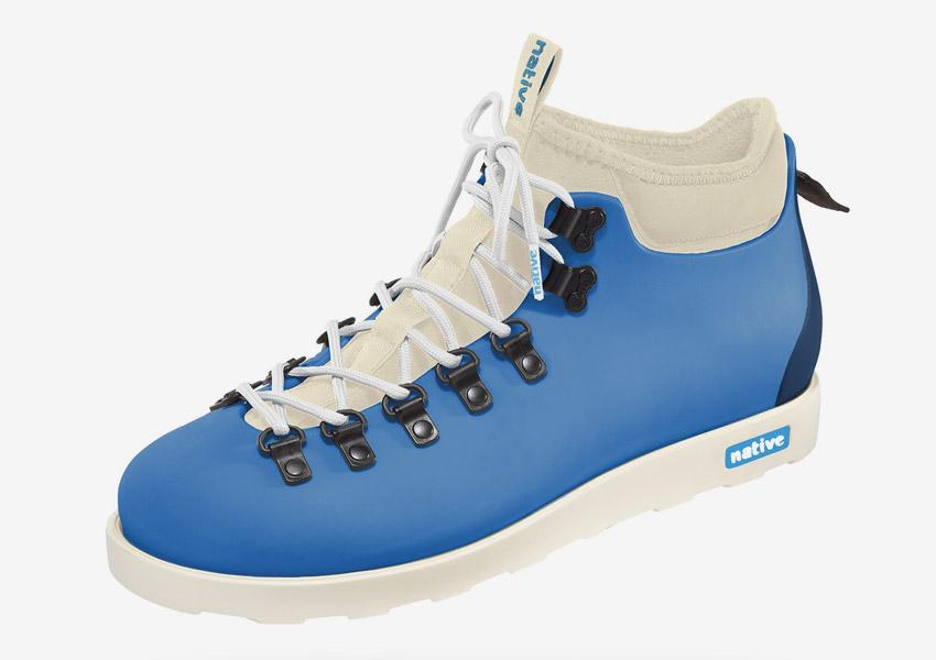 Native Shoes — zimní boty, veganské, pohorky, modré (tyrkysové), plastové, voděodolné — pánské, dámské — Fitzsimmons