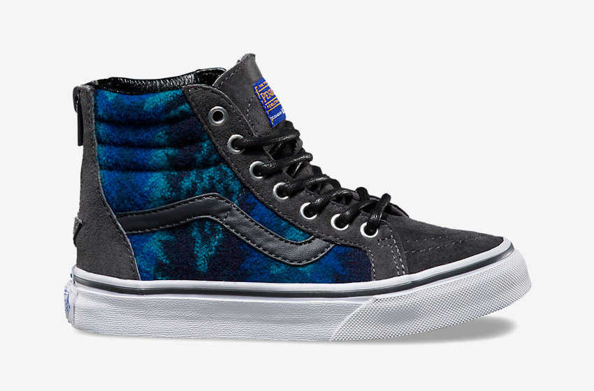 Vans x Pendleton — Sk8-Hi Zip — zateplené kotníkové boty s kožíškem, vlněné sneakers se vzory, vysoké — šedé, modré — dětské