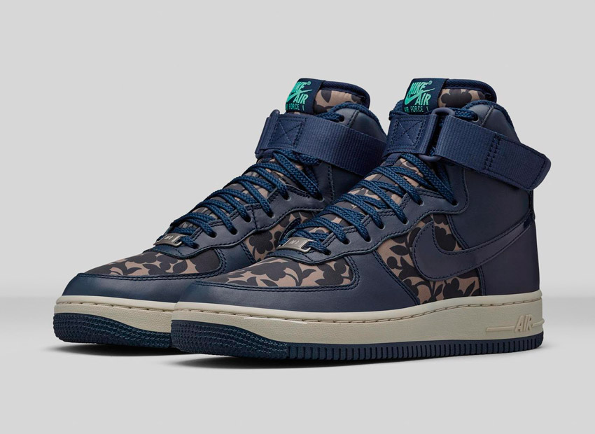 Liberty London x Nike Air Force 1 Hi Cameo Maxi Print Obsidian Blue — dámské kotníkové boty, boots — vysoké sneakers, modré tenisky