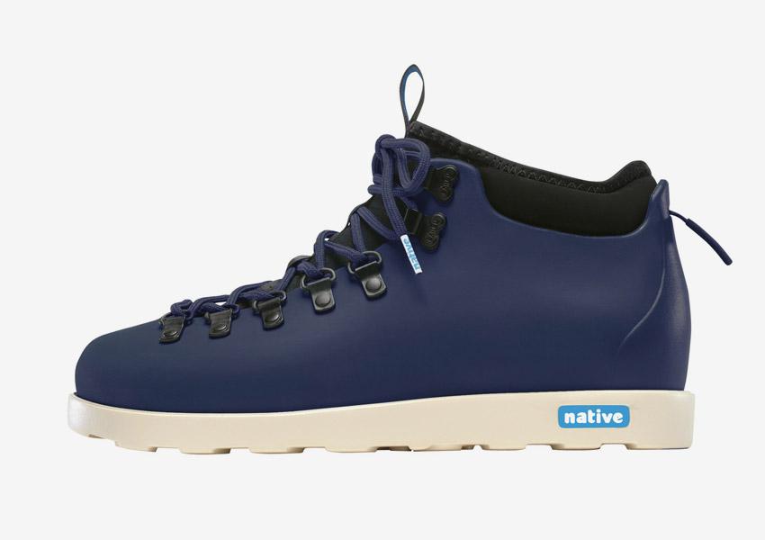 Native Shoes — zimní boty, veganské, tmavě modré, plastové, voděodolné, pohorky — pánské, dámské — Fitzsimmons