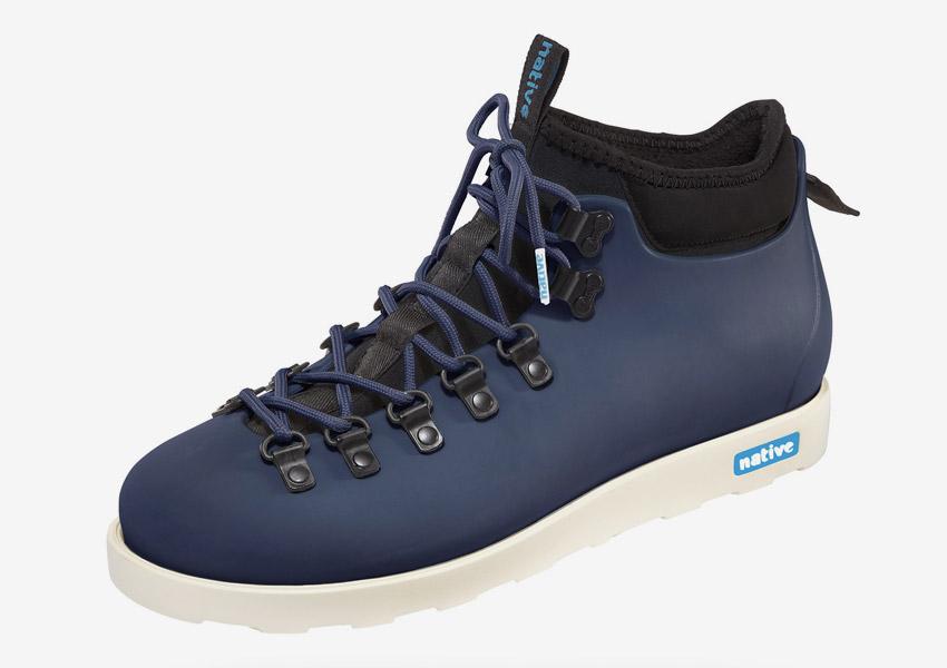 Native Shoes — zimní boty, veganské, tmavě modré, plastové, voděodolné — pánské, dámské — Fitzsimmons