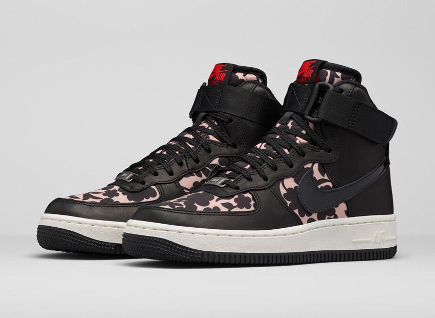 Liberty London x Nike Air Force 1 Hi Cameo Maxi Print — dámské kotníkové boty, boots — vysoké sneakers, černé tenisky, světle růžový vzor