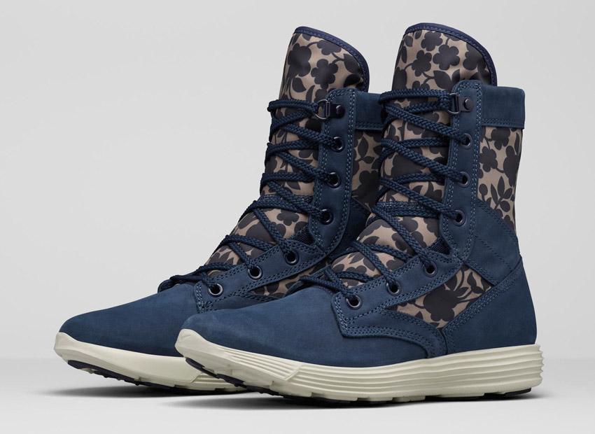 Liberty London x Nike Lunaracer SFB Cameo Maxi Print Obsidian Blue — dámské vysoké zimní boty, kozačky — modré
