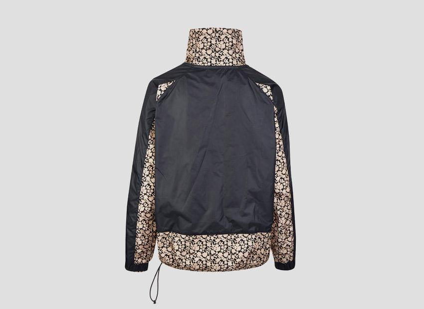 Liberty London x Nike Pullover Jacket Tan Cameo Mini Print — dámská sportovní bunda, černá, světle hnědý vzor