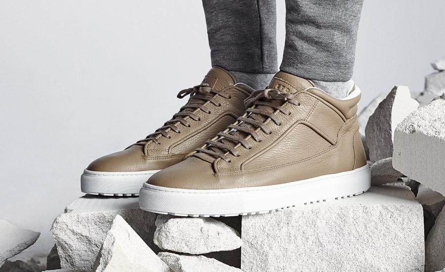ETQ Amsterdam — Mid 2 — luxusní kotníkové tenisky, sneakers, kožené boty — béžové, pískové — dámské, pánské, unisex — lookbook jaro/léto 2016