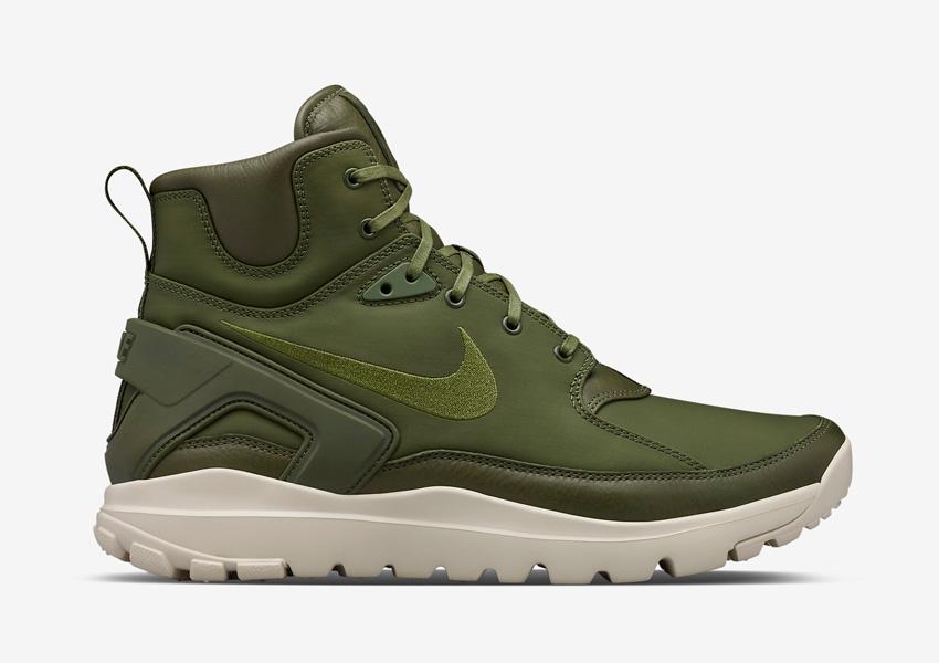 NikeLab x Stone Island Koth Ultra Mid — pánské sportovní boty, vysoké, kotníkové sneakers — zelené (army green)