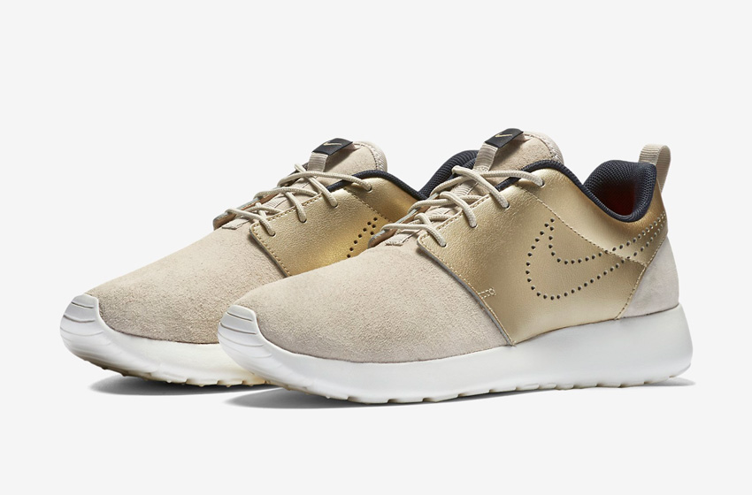 Nike Roshe One Premium Suede String Metallic Gold Womens — zlaté, béžové, dámské tenisky — sneakers