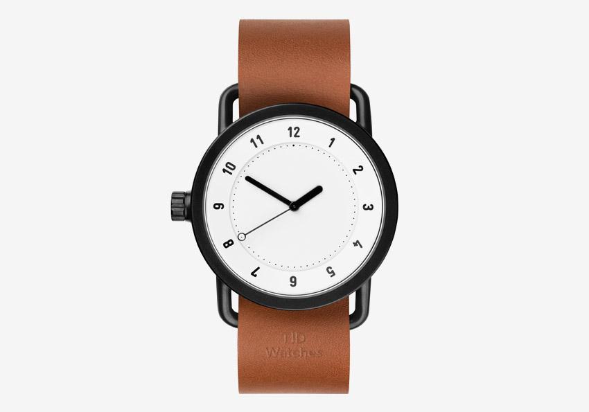 TID Watches – hodinky, designové, švédské – bílý ciferník, černé pouzdro, hnědý kožený řemínek – pánské, dámské