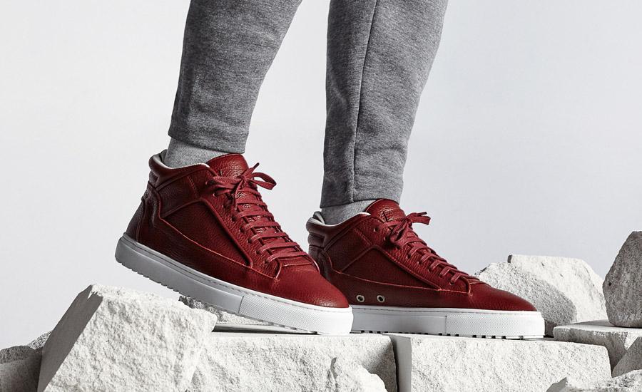 ETQ Amsterdam — Mid 2 — kotníkové tenisky, luxusní boty, kožené sneakers — červené — dámské, pánské, unisex — lookbook jaro/léto 2016