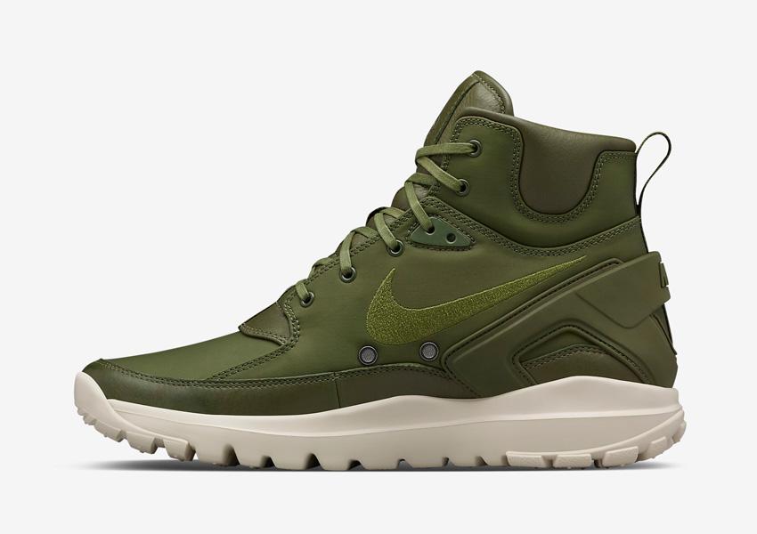 NikeLab x Stone Island Koth Ultra Mid — vysoké kotníkové boty, sportovní, pánské sneakers — zelené (army green)