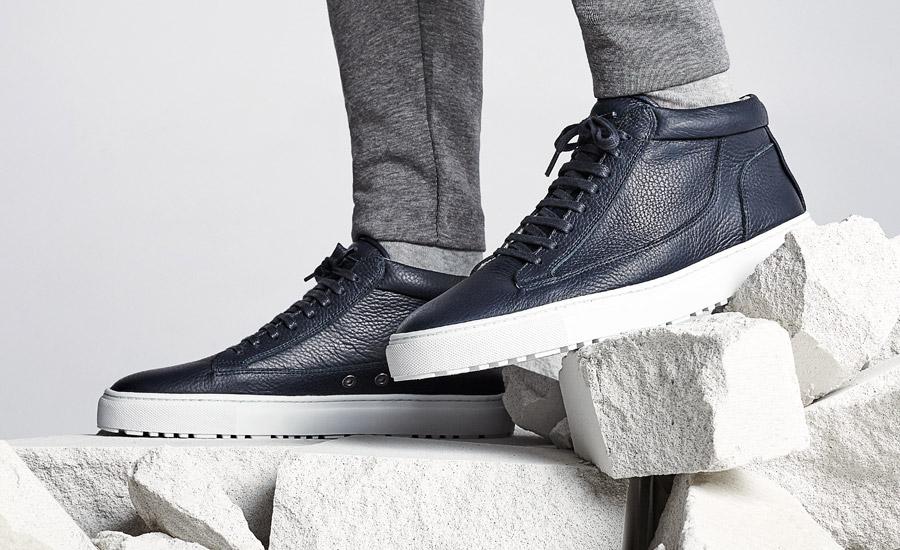 ETQ Amsterdam — Mid 1 — luxusní kotníkové tenisky, sneakers, kožené boty — tmavě modré — pánské, dámské, unisex — lookbook jaro/léto 2016