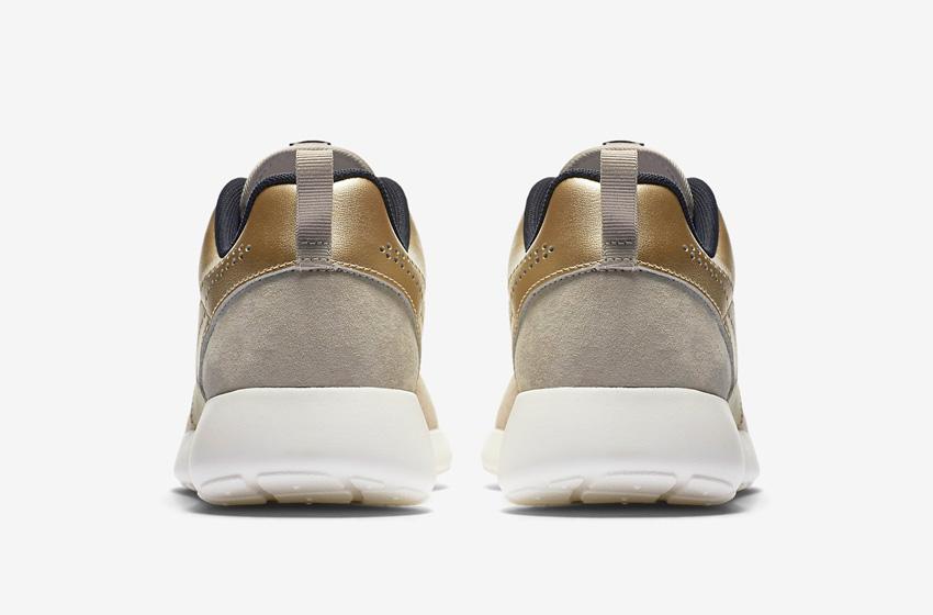 Nike Roshe One Premium Suede String Metallic Gold Womens — dámské tenisky, boty, sneakers — zadní pohled