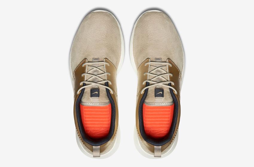 Nike Roshe One Premium Suede String Metallic Gold Womens — zlaté, béžové, dámské tenisky — horní pohled