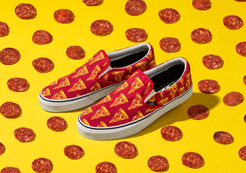 Vans Late Night Pack — boty Slip-On — Mars Red/Pizza — červené