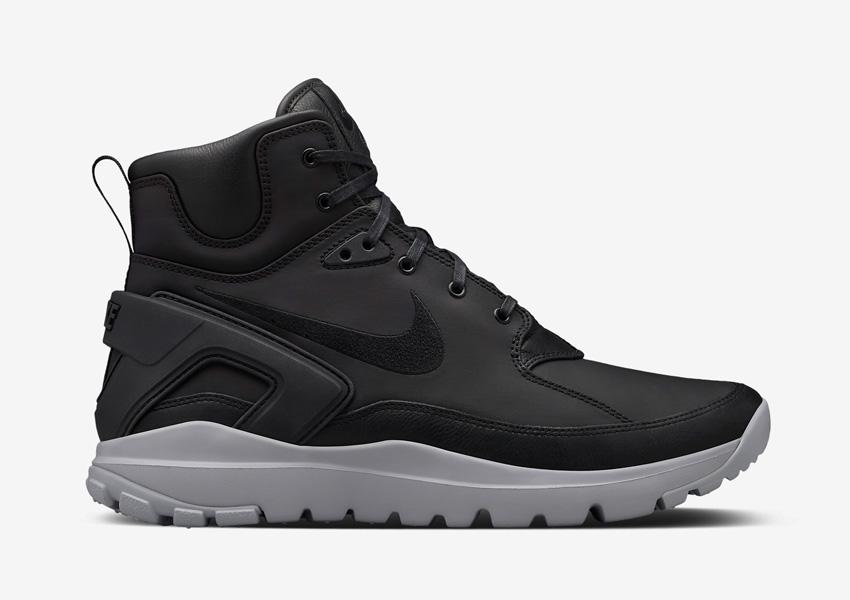 NikeLab x Stone Island Koth Ultra Mid — pánské sportovní boty, vysoké, kotníkové sneakers — černé, šedá podrážka