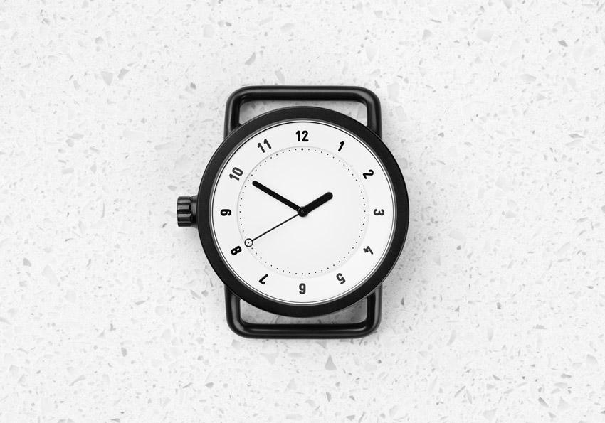 TID Watches – designové hodinky, švédské, minimalistické – černé pouzdro, bílý ciferník