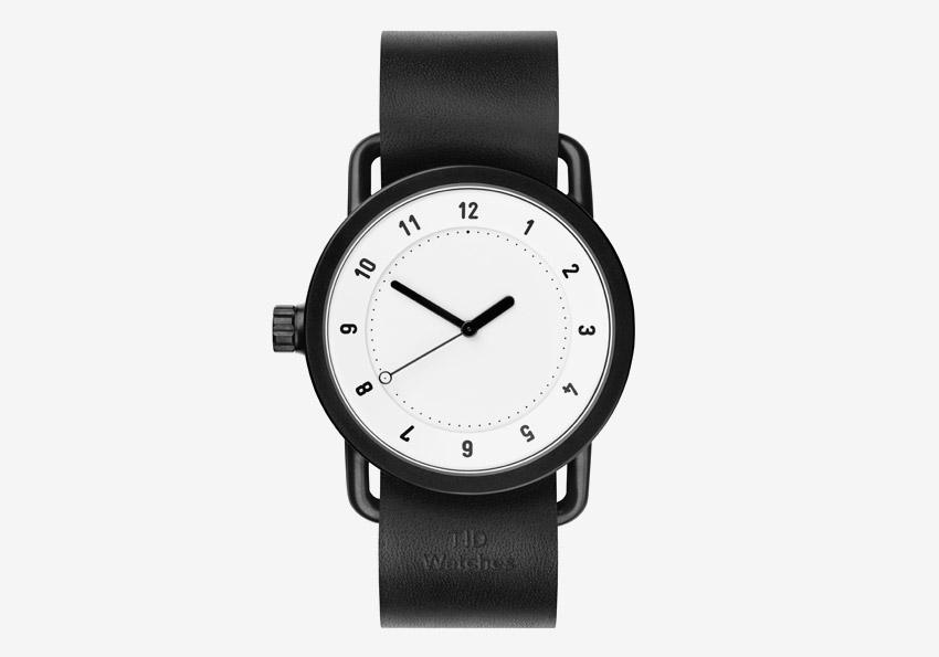 TID Watches – černé hodinky, bílý ciferník, ocelové pouzdro, kožený náramek – designové, švédské – pánské, dámské