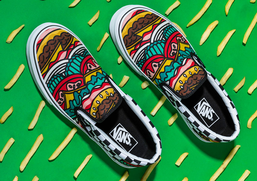 Vans Late Night Pack — boty Slip-On — Burger/Check — kostkované