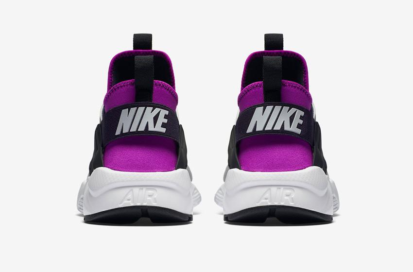 Nike Air Huarache Ultra — šedé, černé, fialové — zadní pohled