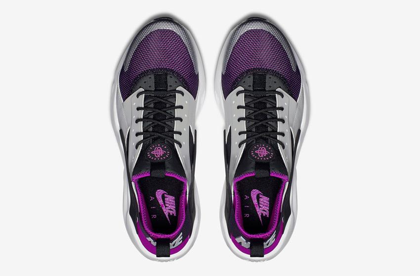 Nike Air Huarache Ultra — šedé, černé, fialové — horní pohled