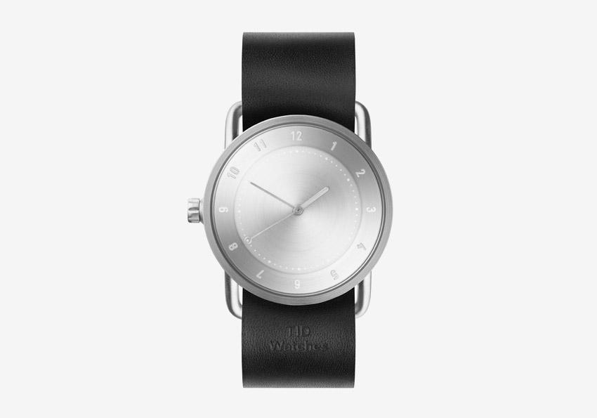 TID Watches – náramkové hodinky, designové, švédské – ocelové pouzdro, černý kožený náramek – dámské