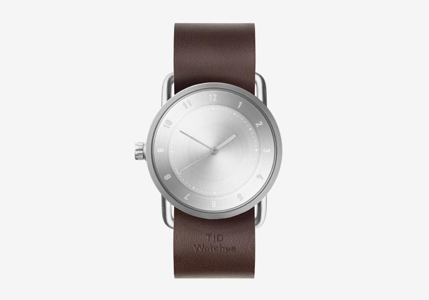TID Watches – náramkové hodinky, designové, švédské – ocelové pouzdro, hnědý kožený náramek – dámské