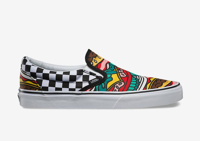 Vans Late Night Pack — tenisky bez tkaniček Classic Slip-On — Burger/Check — kostkované