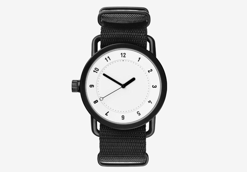 TID Watches – černé náramkové hodinky, bílý ciferník, ocelové pouzdro, textilní náramek – designové, švédské – pánské, dámské