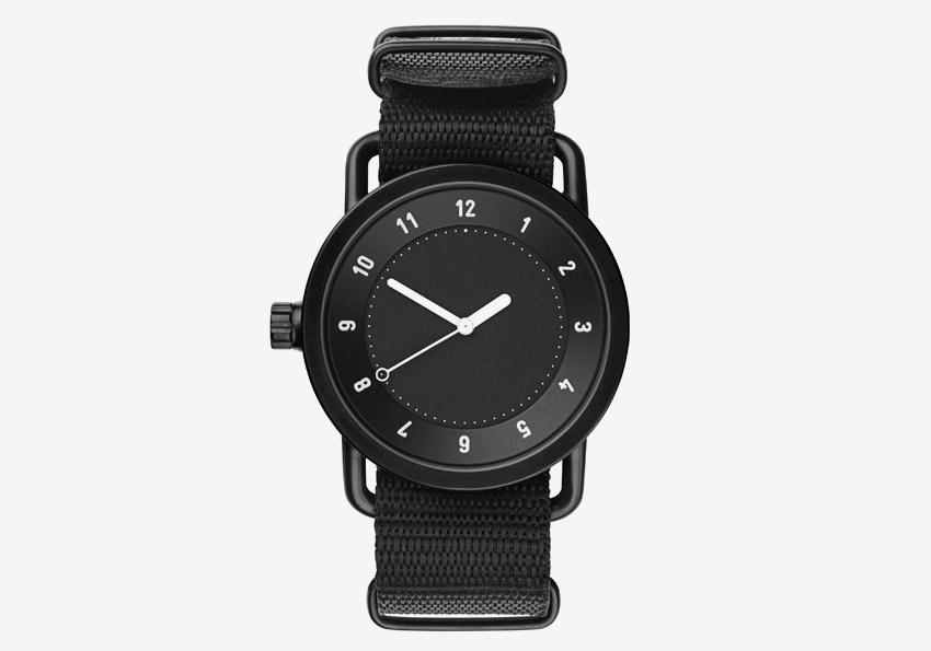 TID Watches – černé hodinky, textilní náramek, ocelové pouzdro – minimalistické hodinky – pánské, dámské