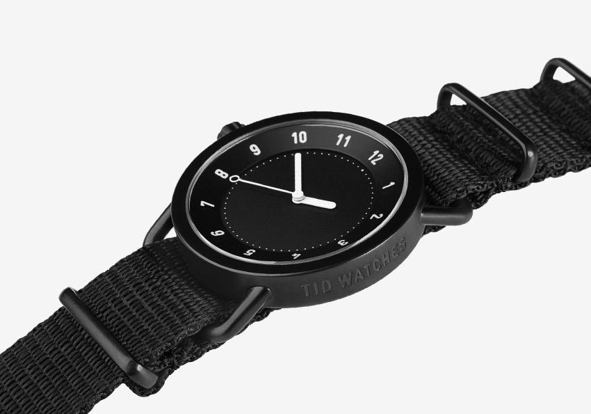 TID Watches – černé hodinky, textilní náramek, ocelové pouzdro – náramkové hodinky – pánské, dámské