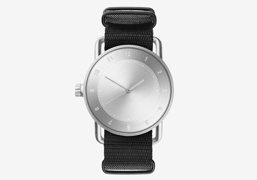 TID Watches – černé hodinky, textilní náramek, ocelové pouzdro – náramkové švédské hodinky – pánské