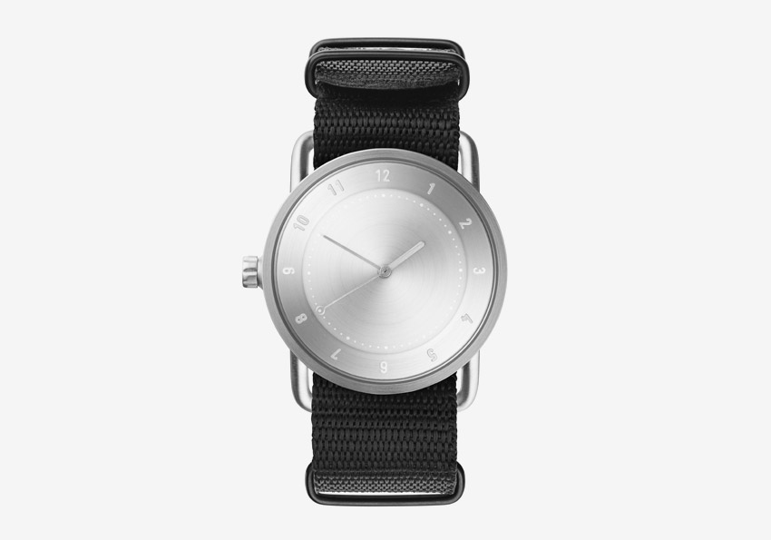 TID Watches – černé hodinky, textilní náramek, ocelové pouzdro – náramkové švédské hodinky – dámské