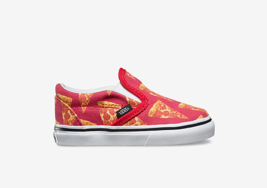 Vans Late Night Pack — Toddler Classic Slip-On — Mars Red/Pizza — červené