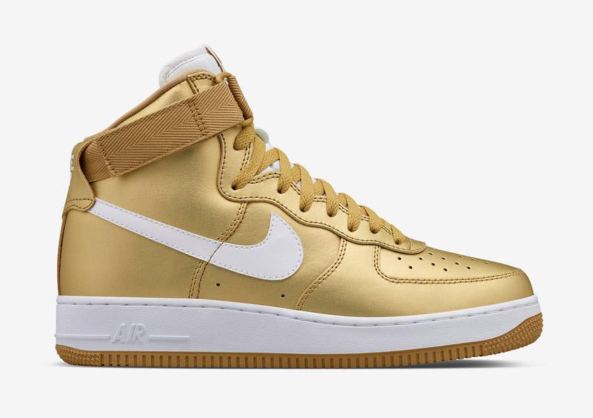 Nike Air Force 1 High — Metallic Gold — zlaté kotníkové boty, vysoké sneakers — pánské, dámské — Nikelab