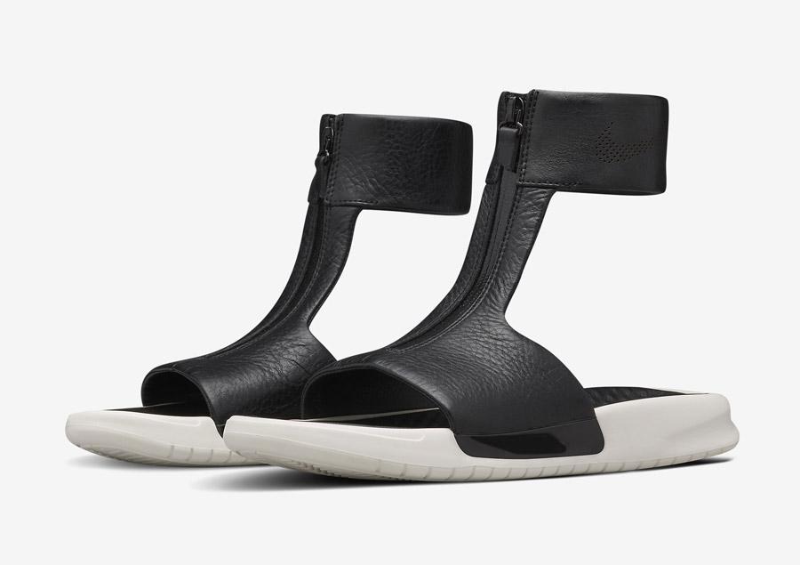 NikeLab Benassi Cuff Lux Sandal — sandály, letní, luxusní — dámské — černé, bílé