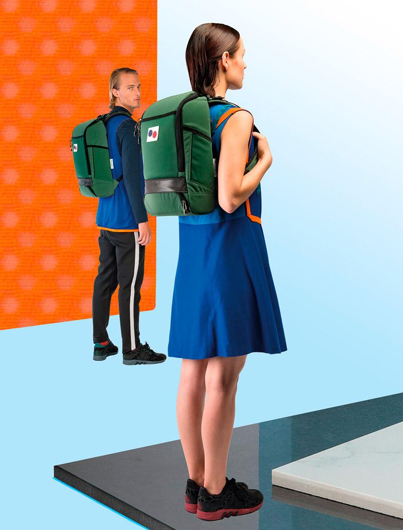 Pinqponq — zelený plátěný batoh z pet lahví — lookbook 2016