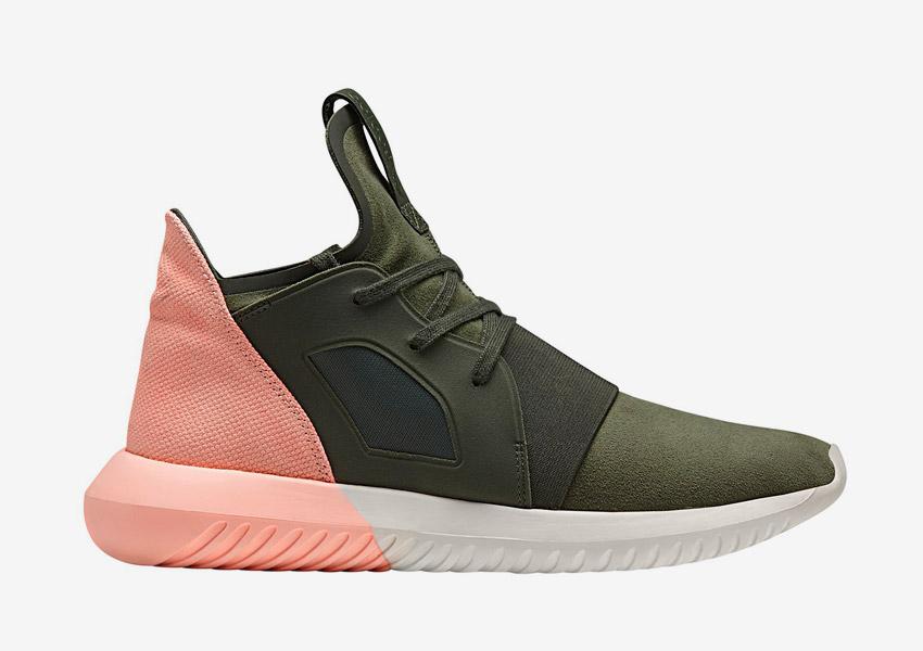 adidas Originals Tubular Defiant — futuristické sneakers, boty, tenisky — lososové, zelené (army green) — dámské — Color Contrast Pack