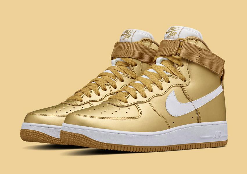 Nike Air Force 1 High — Metallic Gold — zlaté metalické sneakers, vysoké kotníkové boty — pánské, dámské — Nikelab