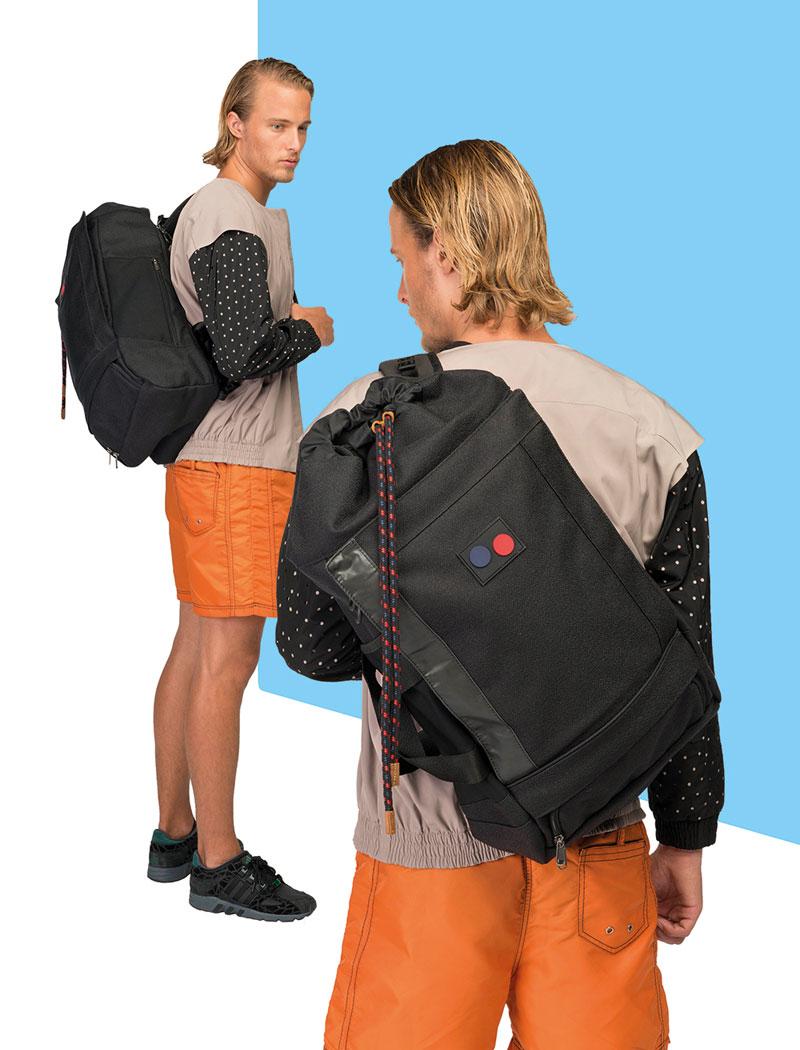 Pinqponq — černý plátěný batoh na záda z plastových PET lahví — lookbook 2016