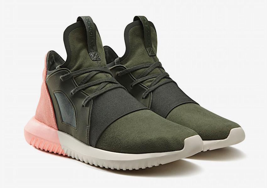 adidas Originals Tubular Defiant — boty, futuristické sneakers — lososové, zelené (army green) — dámské — Color Contrast Pack
