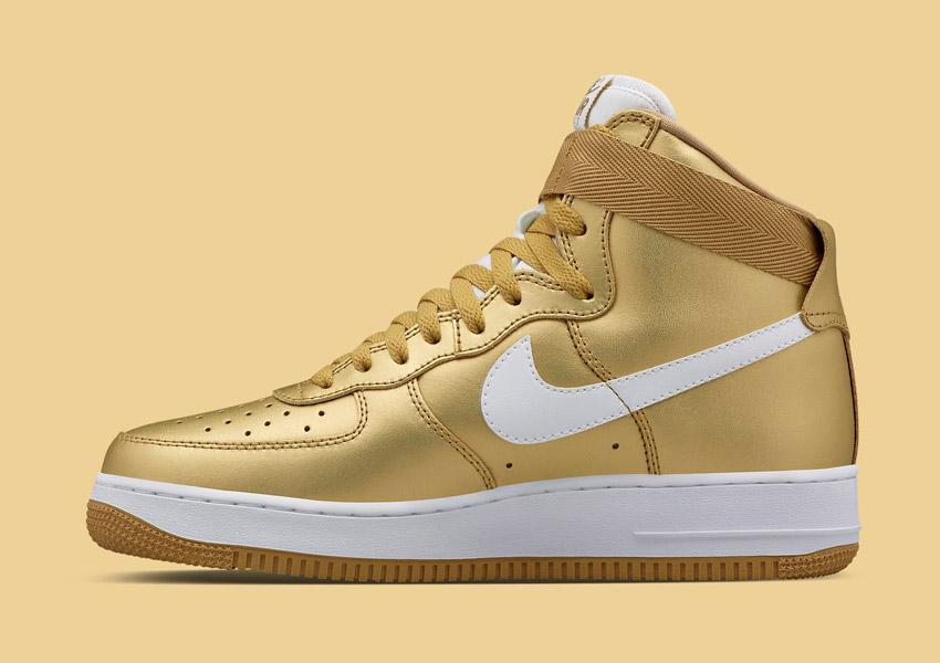 Nike Air Force 1 High — Metallic Gold — zlaté boty, metalické tenisky, vysoké sneakers — pánské, dámské — Nikelab