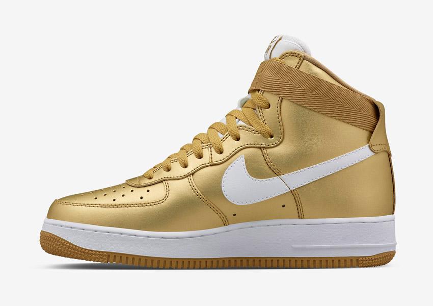 Nike Air Force 1 High — Metallic Gold — zlaté boty, metalické sneakers, vysoké kotníkové tenisky — pánské, dámské — Nikelab